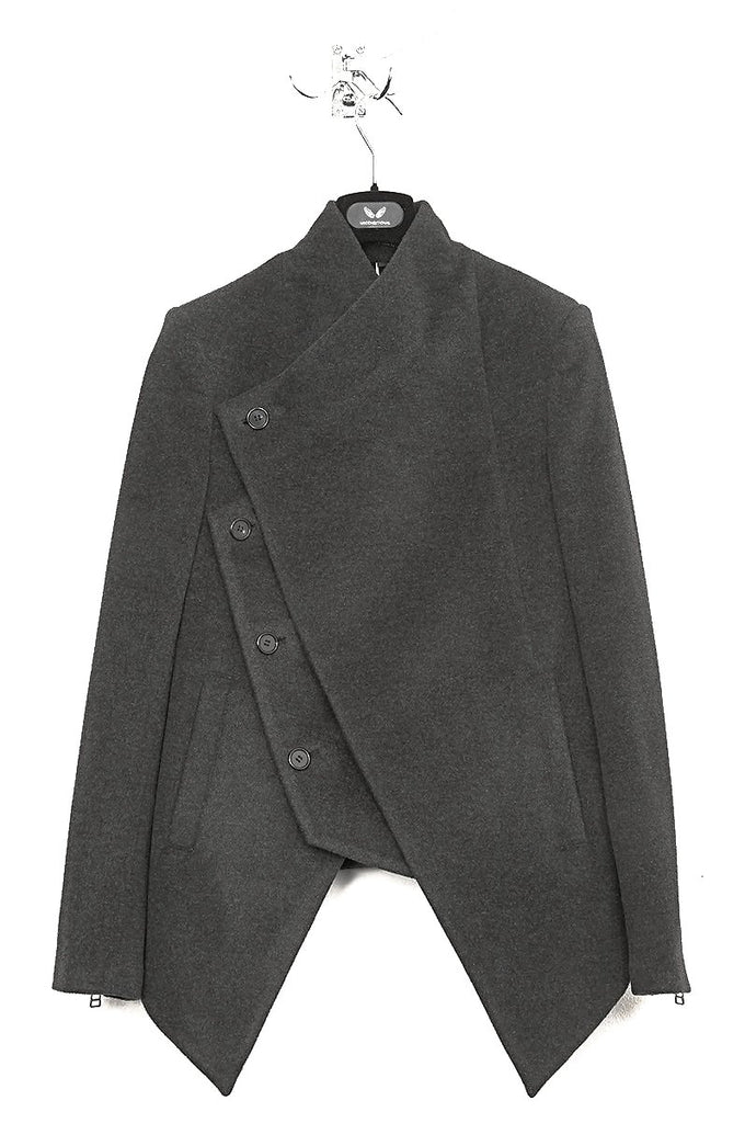 UNCONDITIONAL Charcoal double layer asymmetric short coat with zip out panel.