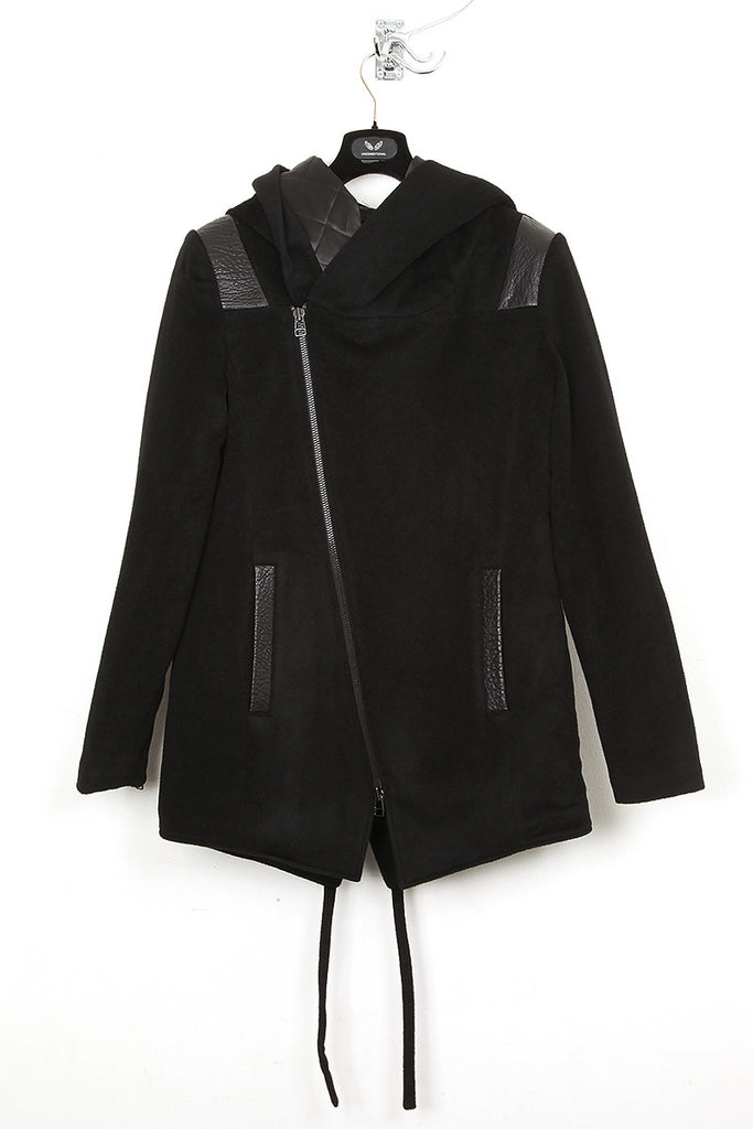 UNCONDITIONAL Black zip up hooded parka coat with tail and large hood ;  cot216