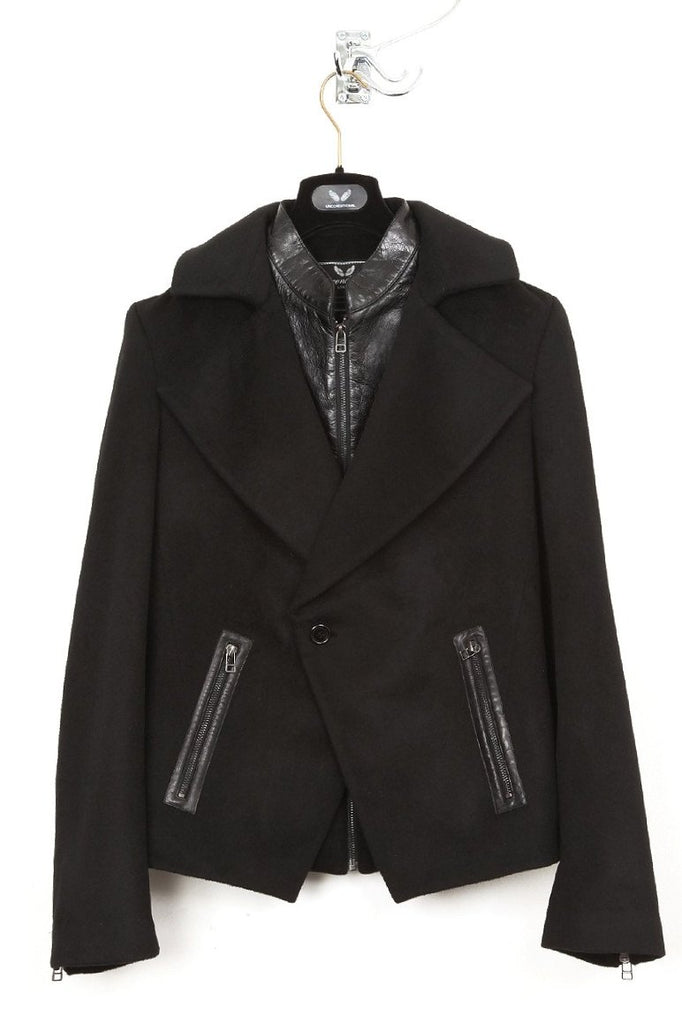 UNCONDITIONAL Black and Black double layered short biker peacoat.