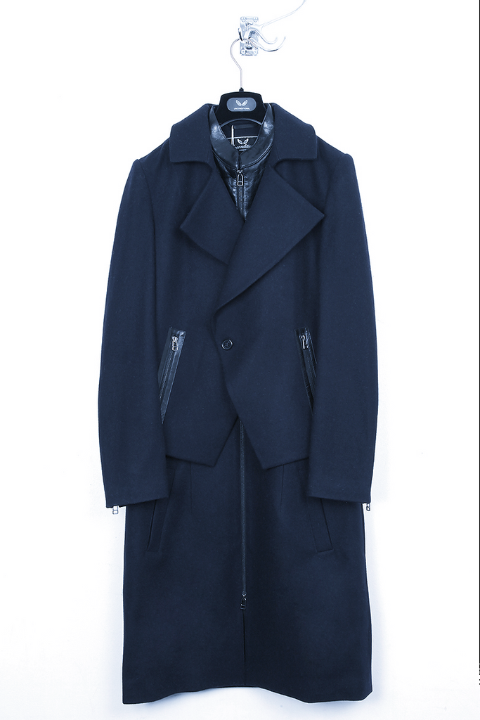 UNCONDITIONAL AW16 Navy and Black double layered long biker peacoat.