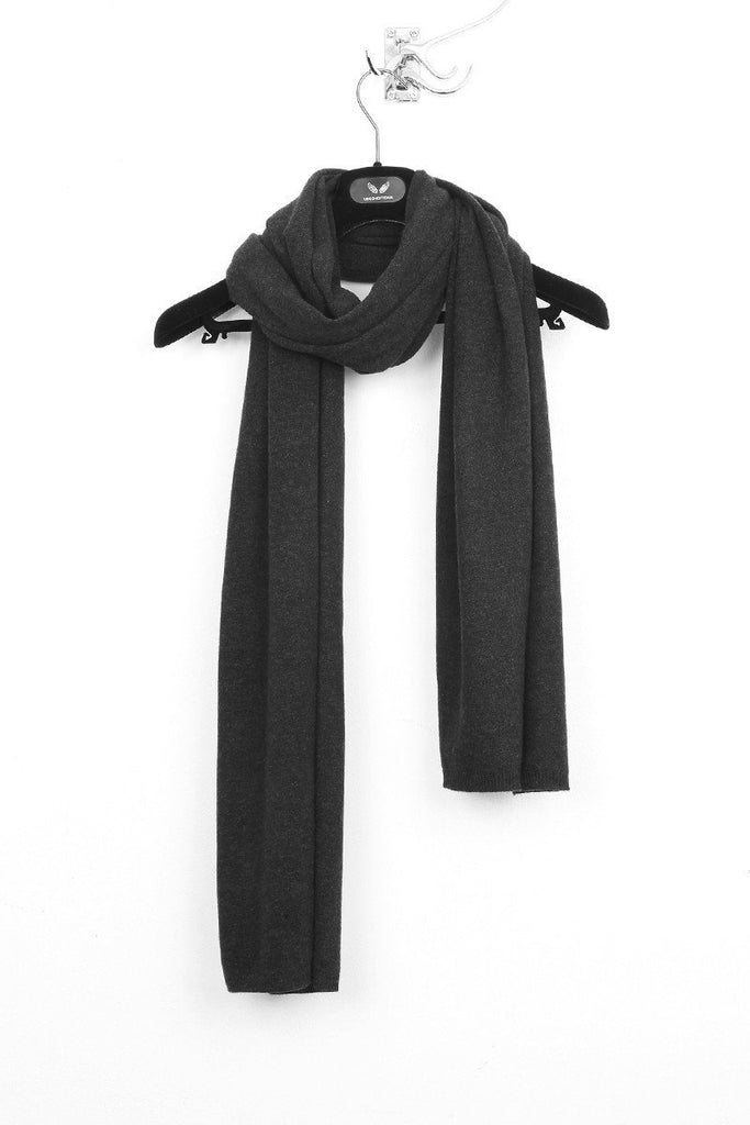 UNCONDITIONAL charcoal cashmere scarf.