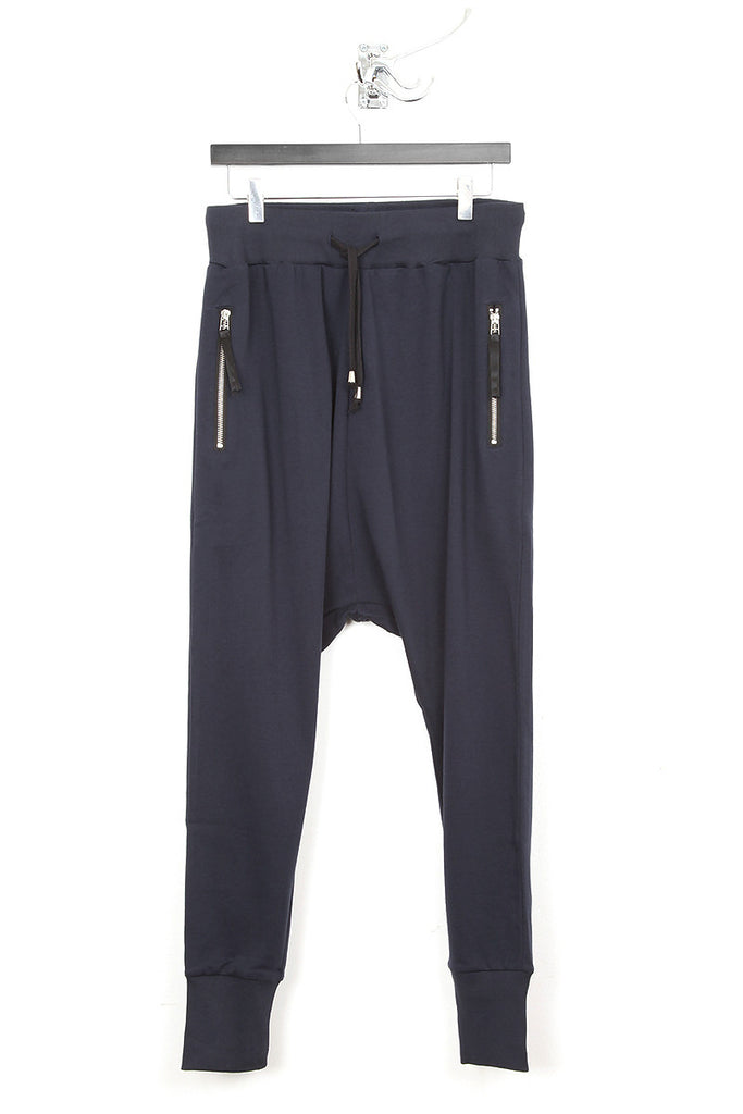 UNCONDITIONAL navy drop crotch full length jersey trouser.