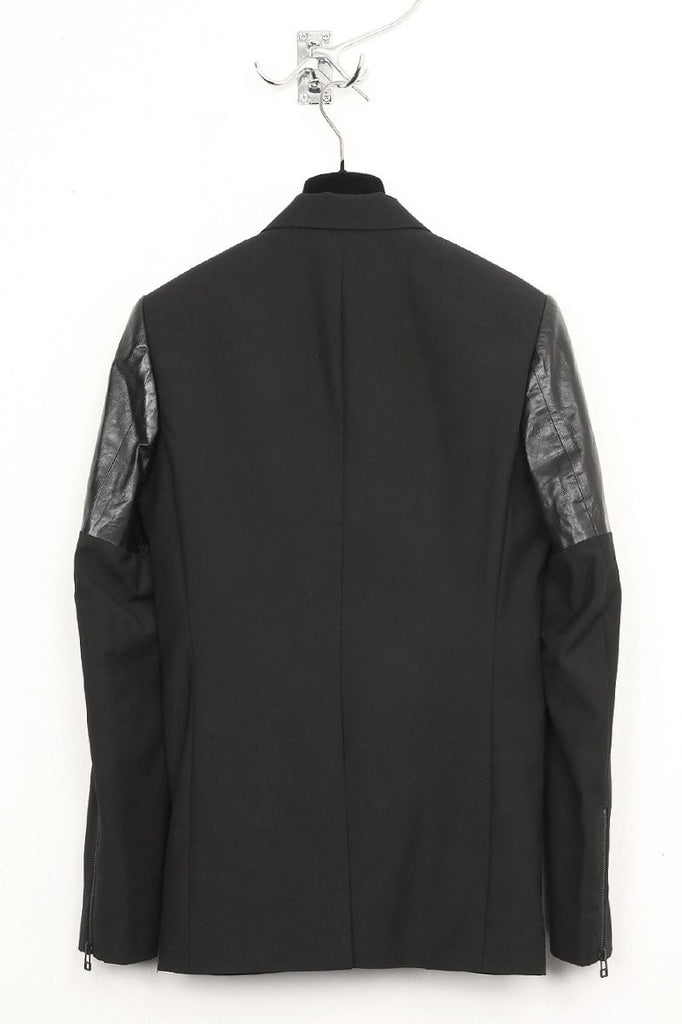 UNCONDITIONAL Black cutaway jacket with leather detailing.