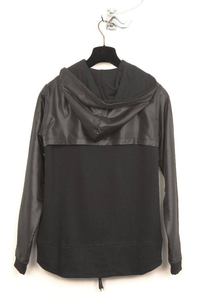 UNCONDITIONAL Tar sweat-shirting zip up hoodie with black microfibre layer.