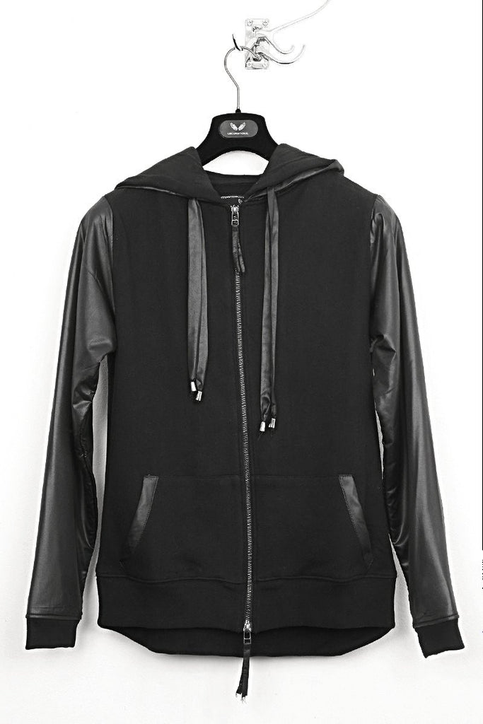 UNCONDITIONAL's Black and Black sweat-shirting zip up hoodie with microfibre layer.