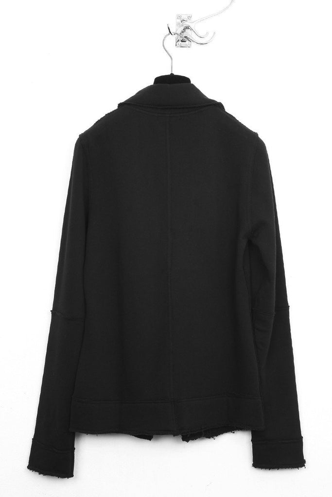 UNCONDITIONAL black sweat shirting jacket with external seams.