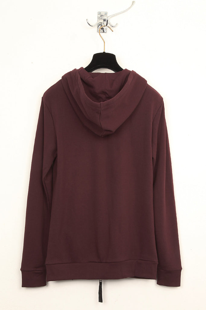 UNCONDITIONAL burgundy double zip sweat shirting hoodie.