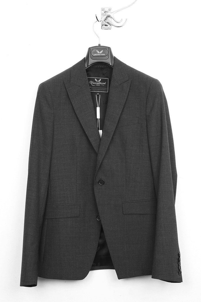 UNCONDITIONAL Charcoal one button tailored wool jacket.