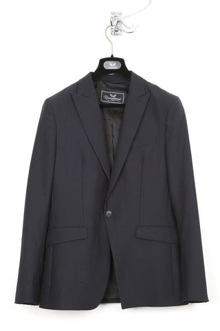 UNCONDITIONAL blue and black one button jacket with contrast sleeves and lapel.