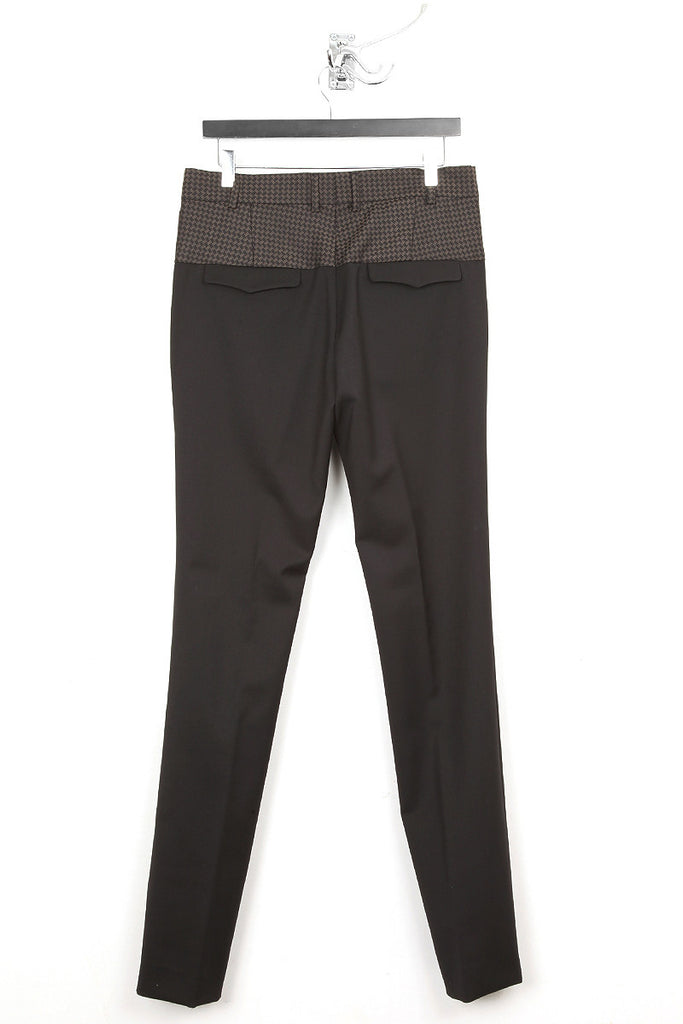 UNCONDITIONAL brown black jacquard top and black bottom paneled cigarette trousers.