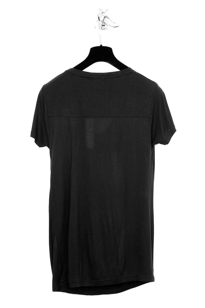 UNCONDITIONAL black rayon signature drape front short sleeve tee with back yoke. Code : R43