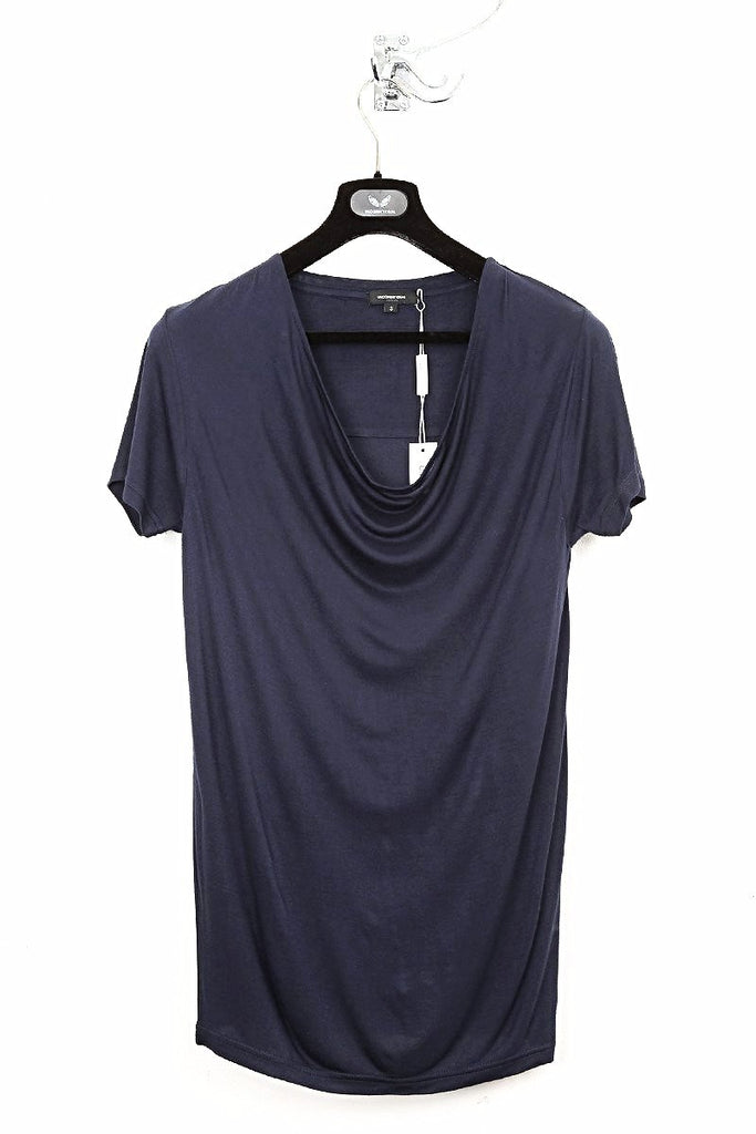 UNCONDITIONAL Petrol Blue signature drape front short sleeve tee with back yoke