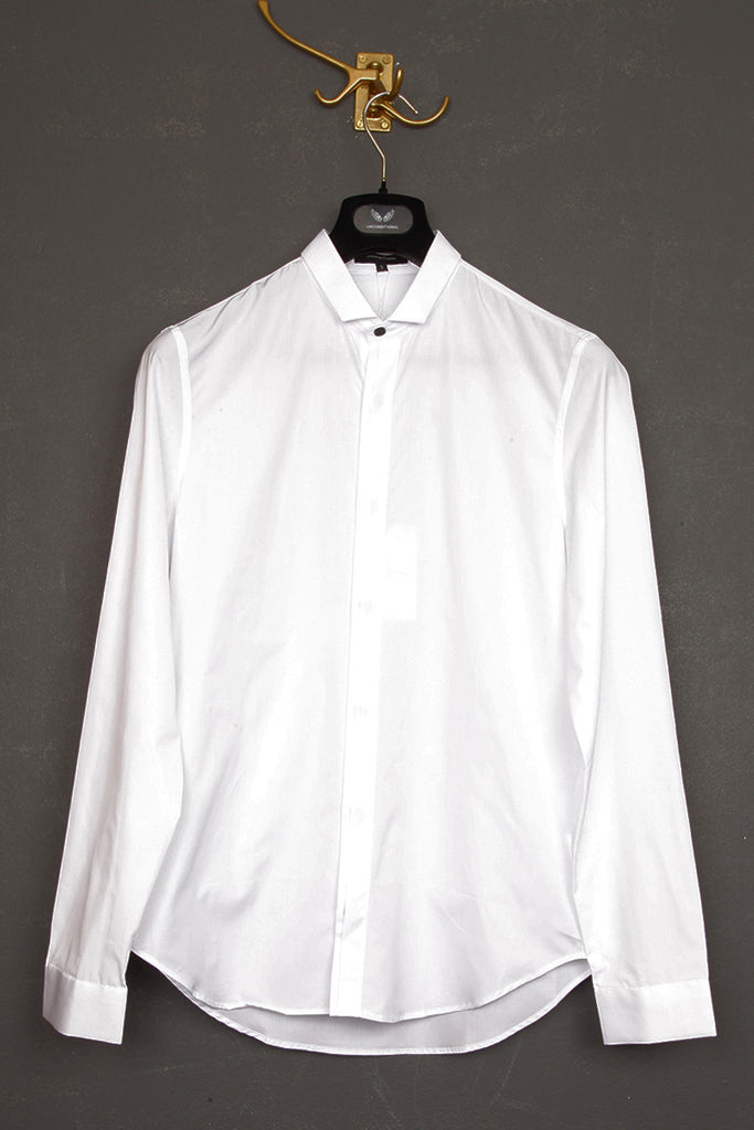 UNCONDITIONAL white long sleeved, slim fit,  baby collar shirt.