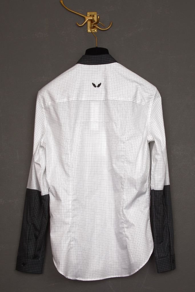 UNCONDITIONAL white grid check shirt with black grid check contrast small collar and 1/2 arm.