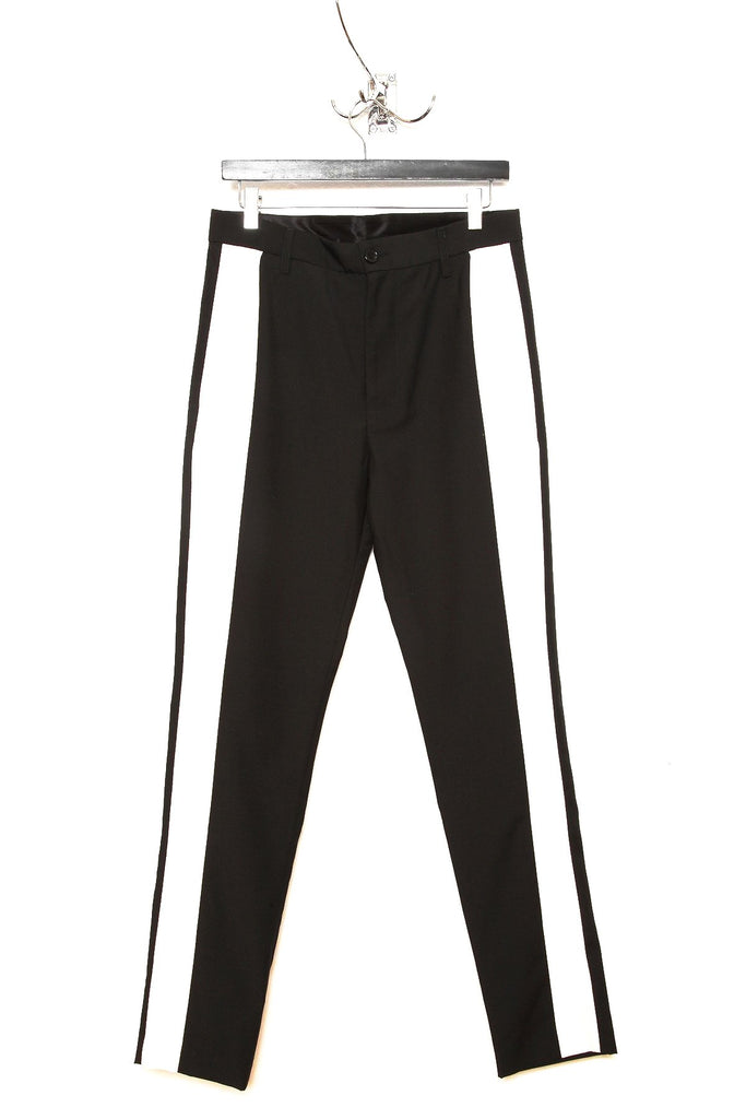 UNCONDITIONAL black and ivory cigarette trousers with side ribbon.
