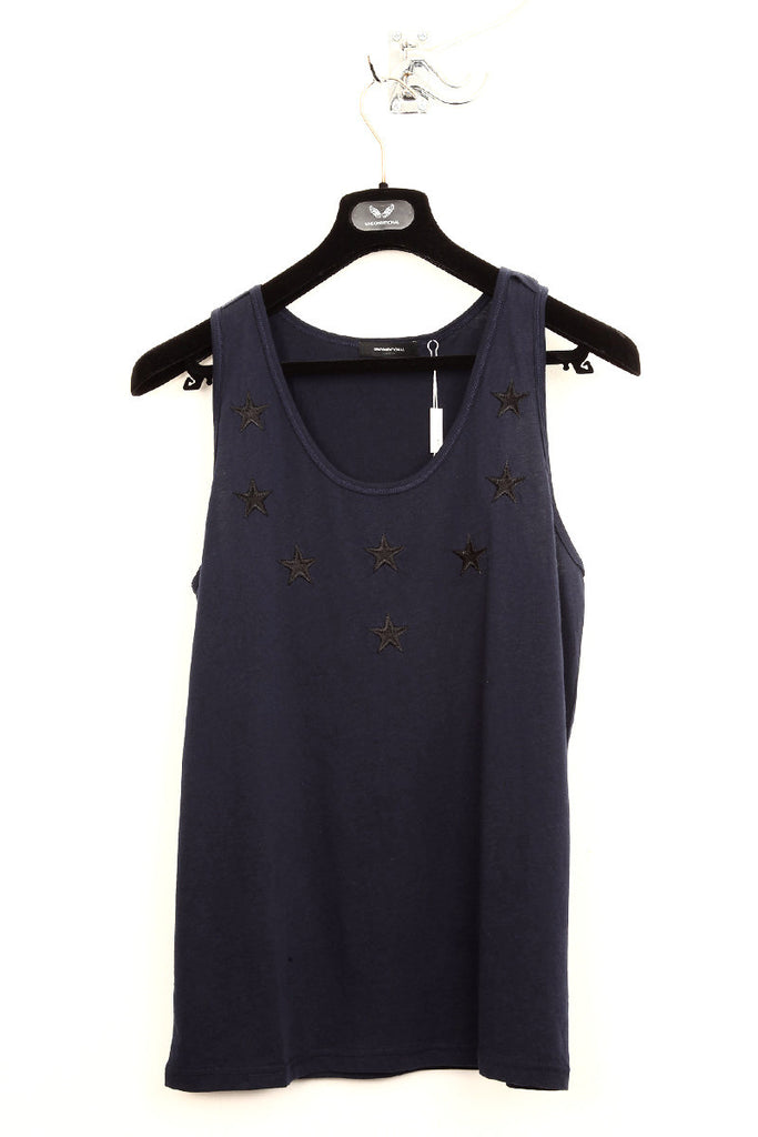 UNCONDITIONAL midnight blue cotton  vest with black silk stars.