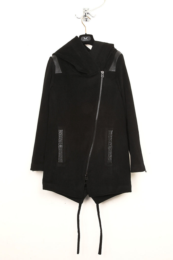 UNCONDITIONAL ladies black hooded coat with tail and leather details.