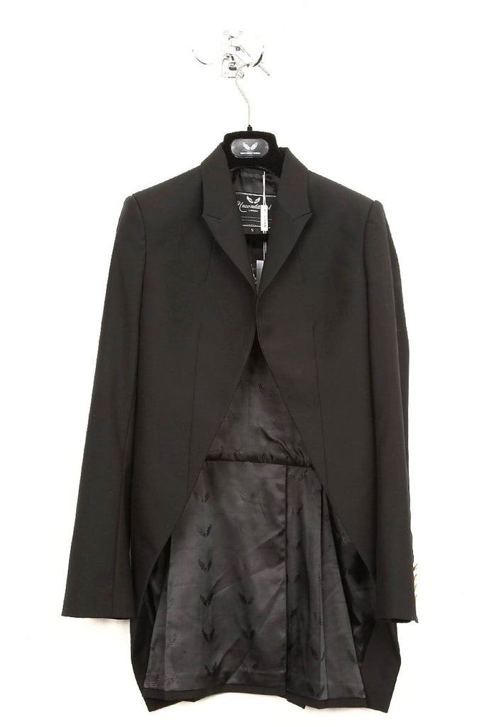 UNCONDITIONAL black cutaway tailcoat with military gold cuff buttons.