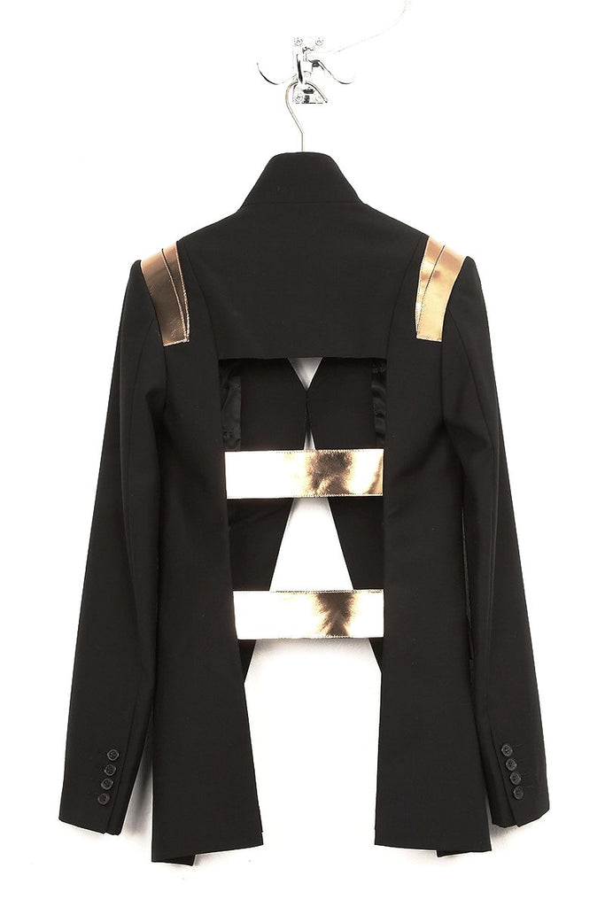 UNCONDITIONAL Black | Bronze mirrored leather cage back jacket.