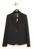 UNCONDITIONAL Black Wool Flannel jacket with contrast silk mix textured sleeves and lapels