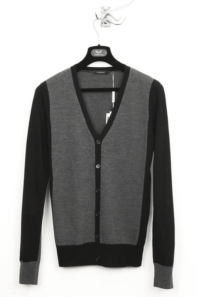 UNCONDITIONAL black, slate and flannel panelled merino cardigan.