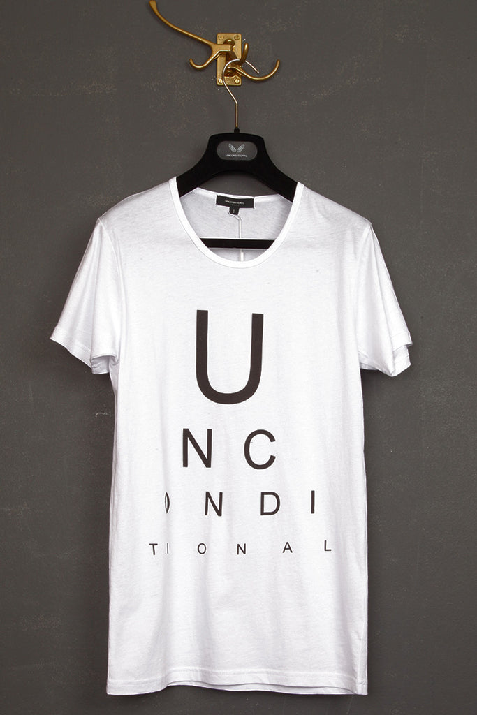 UNCONDITIONAL white with black optician print round neck tee.