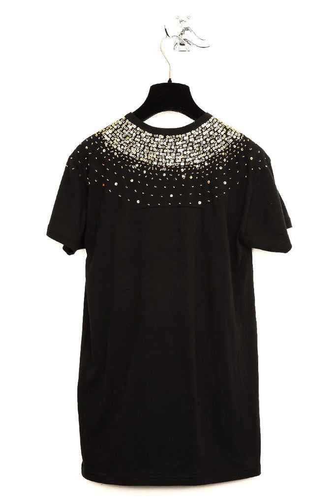 UNCONDITIONAL black scoop neck T-shirt with gold hand beading.