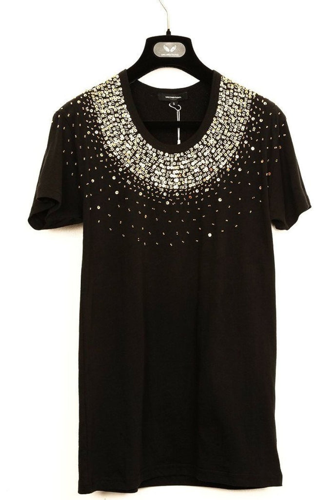 UNCONDITIONAL black scoop neck T-shirt with gold hand beading