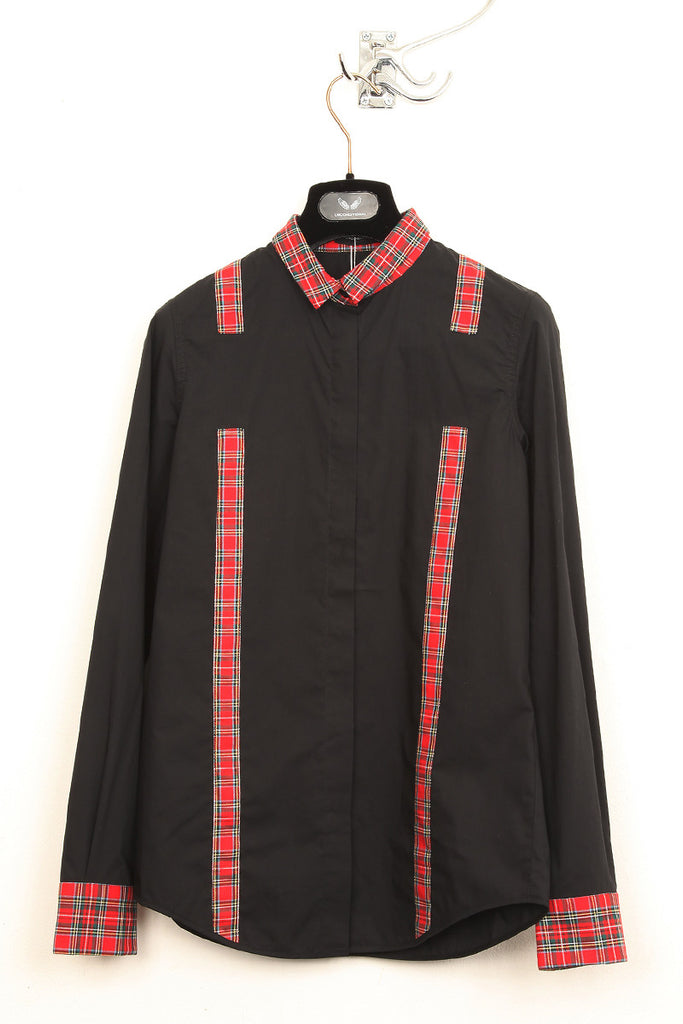UNCONDITIONAL black and red check contrast braces shirt.