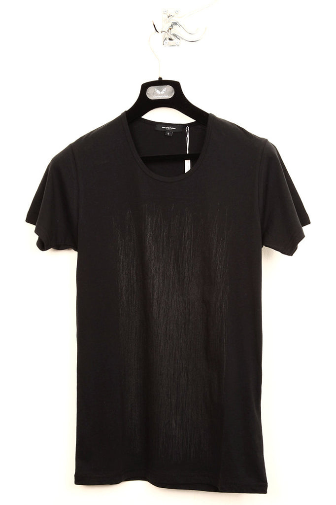 UNCONDITIONAL black with black scribble print round neck tee.