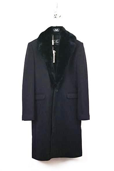 UNCONDITIONAL MENS SINGLE BREASTED COAT WITH BLACK REX RABBIT COLLAR.