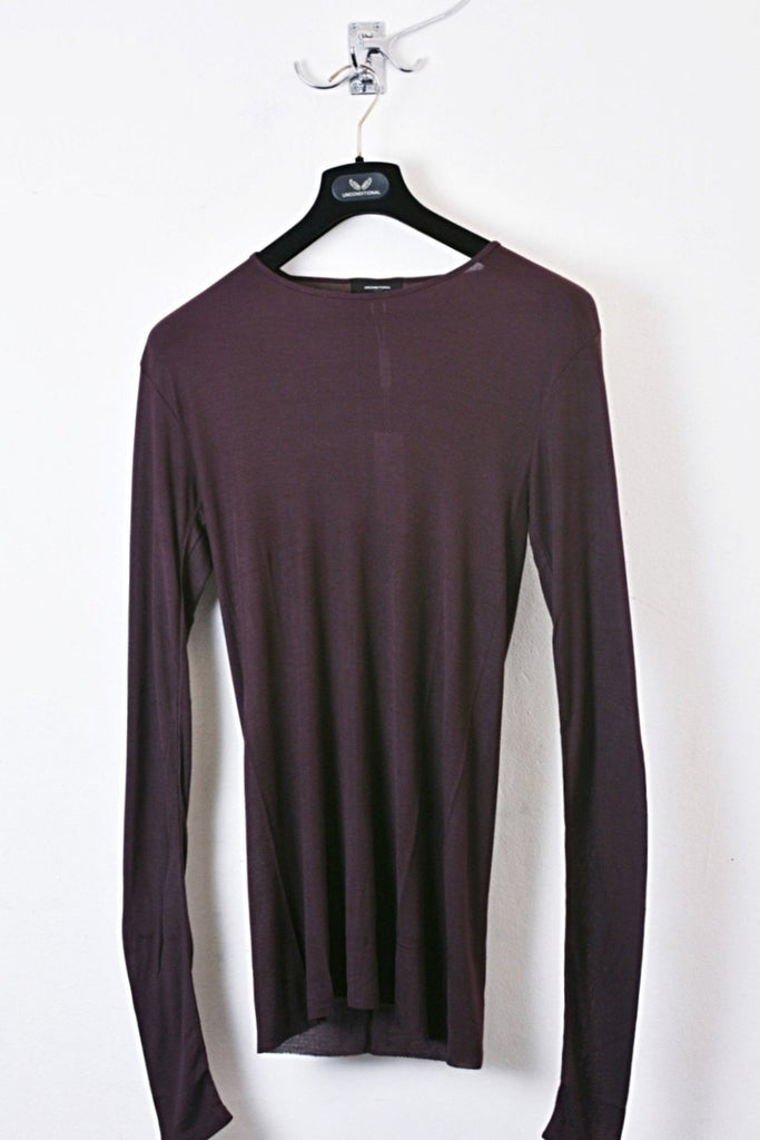 UNCONDITIONAL Grape long sleeved rayon rib crew neck T-shirt