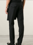 UNCONDITIONAL AW BLACK SKIRT-FLAP TROUSERS WITH ZIP TRIM.