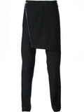 UNCONDITIONAL BLACK SKIRT-FLAP TROUSERS WITH ZIP TRIM.