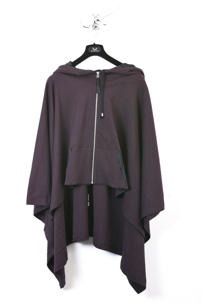 UNCONDITIONAL Grape hooded poncho.