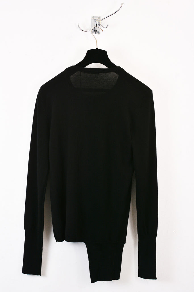UNCONDITIONAL BLACK CREW NECK JUMPER WITH ASYMMETRIC FIN.