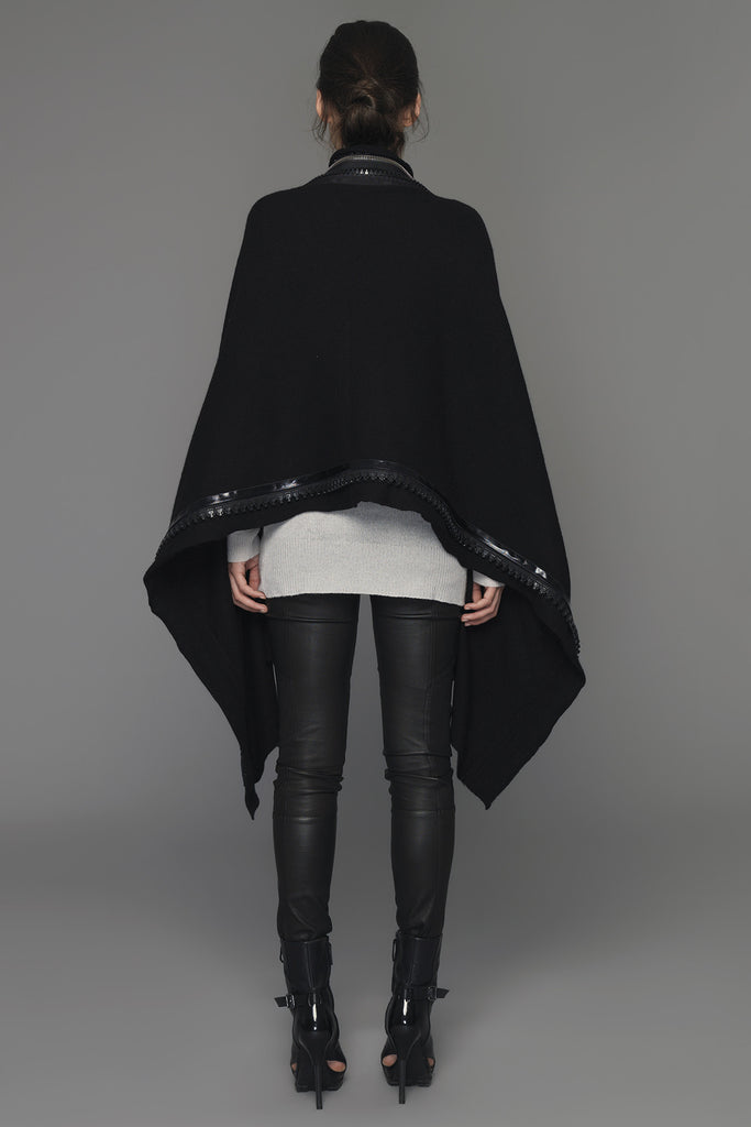UNCONDITIONAL AW19 Black boiled merino cape-scarf with applied heavy zip detailing.