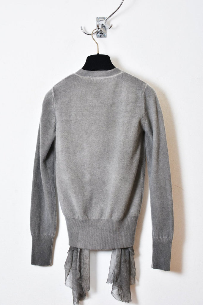 UNCONDITIONAL SS18 DOUBLE BREASTED CASHMERE CARDIGAN WITH CHIFFON DRAPES