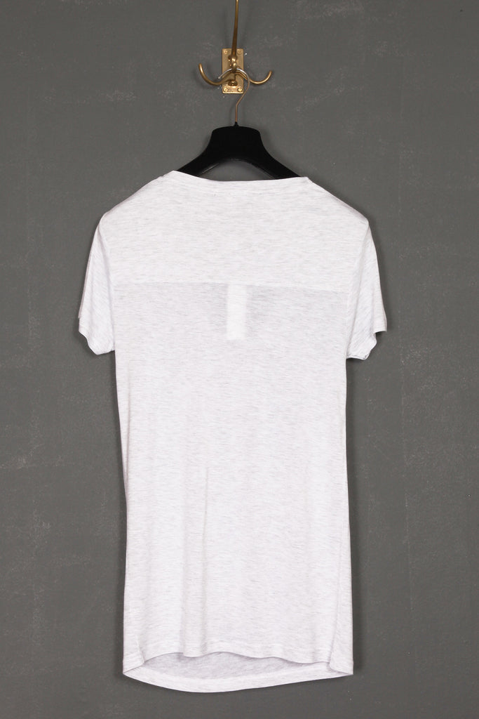 UNCONDITIONAL white rayon signature drape front short sleeve tee with back yoke. Code : R43