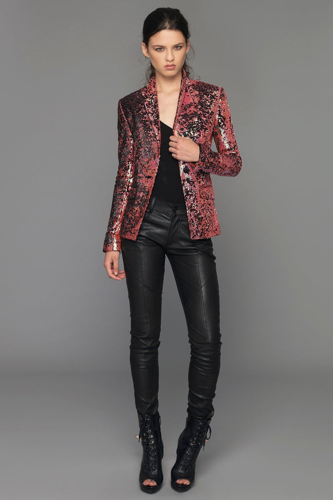 12ae0ae98799 UNCONDITIONAL Ladies Red, Gold, Black one button sequin jacket.