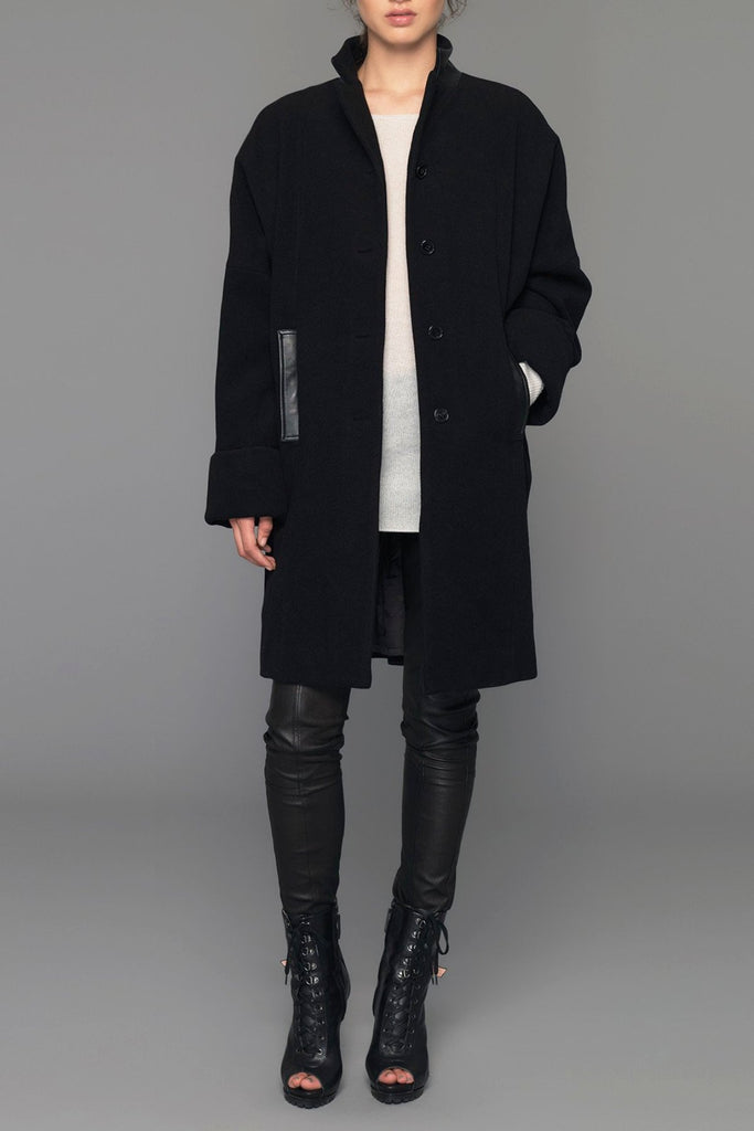 UNCONDITIONAL Pure New wool and leather Black ladies oversized 3/4 coat.