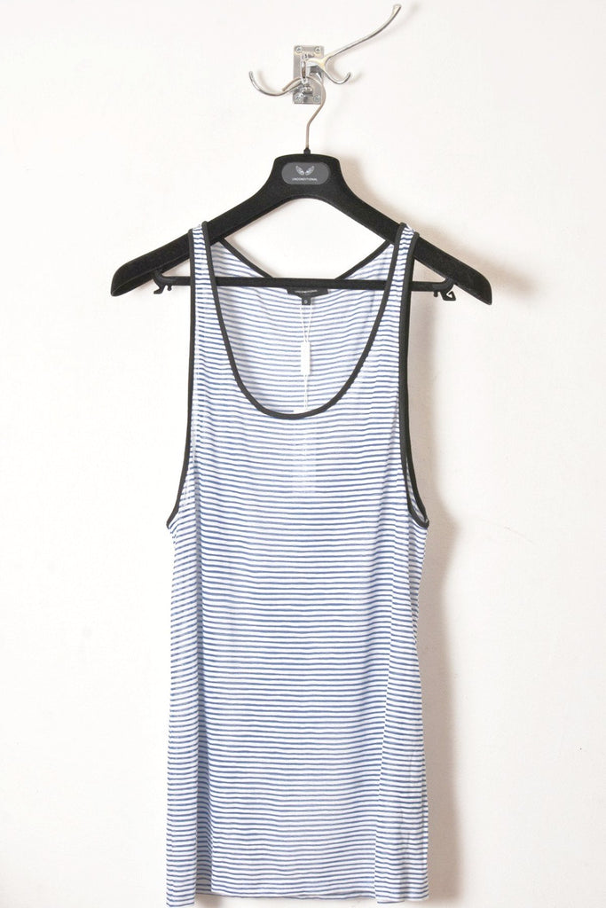 UNCONDITIONAL Blue | white striped longer fine jersey vest