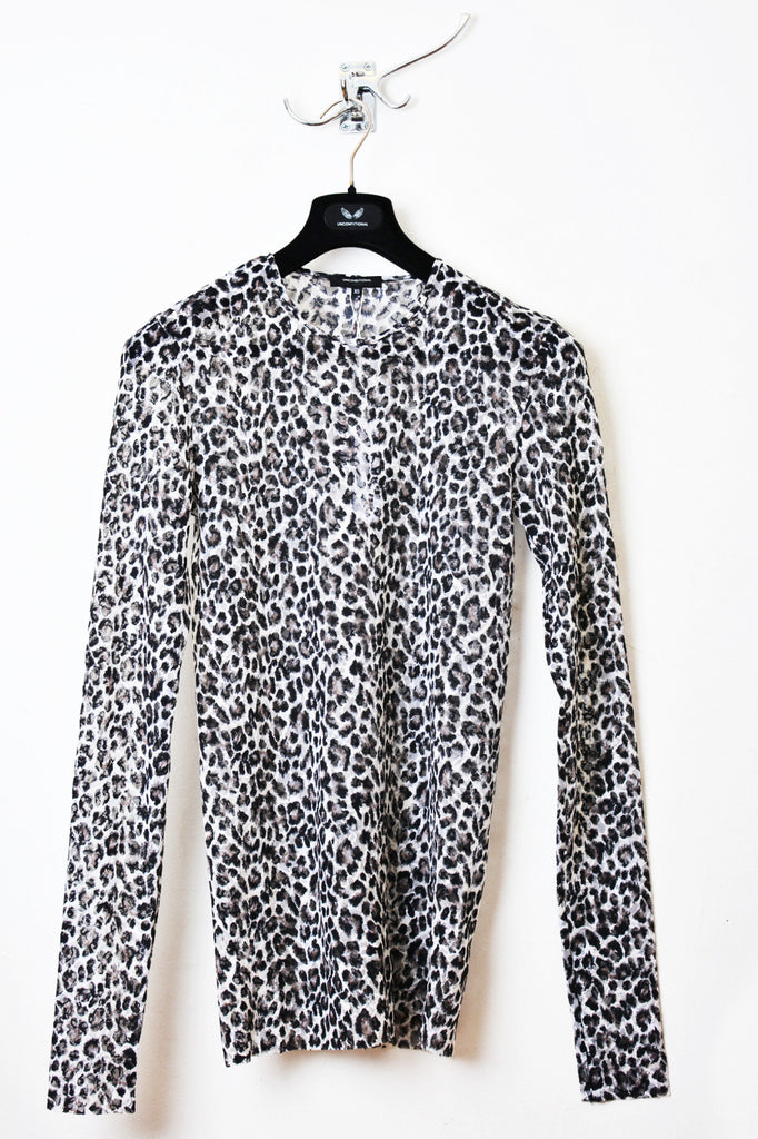 UNCONDITIONAL SS16 ladies leopard print mesh long sleeved crew neck tee.