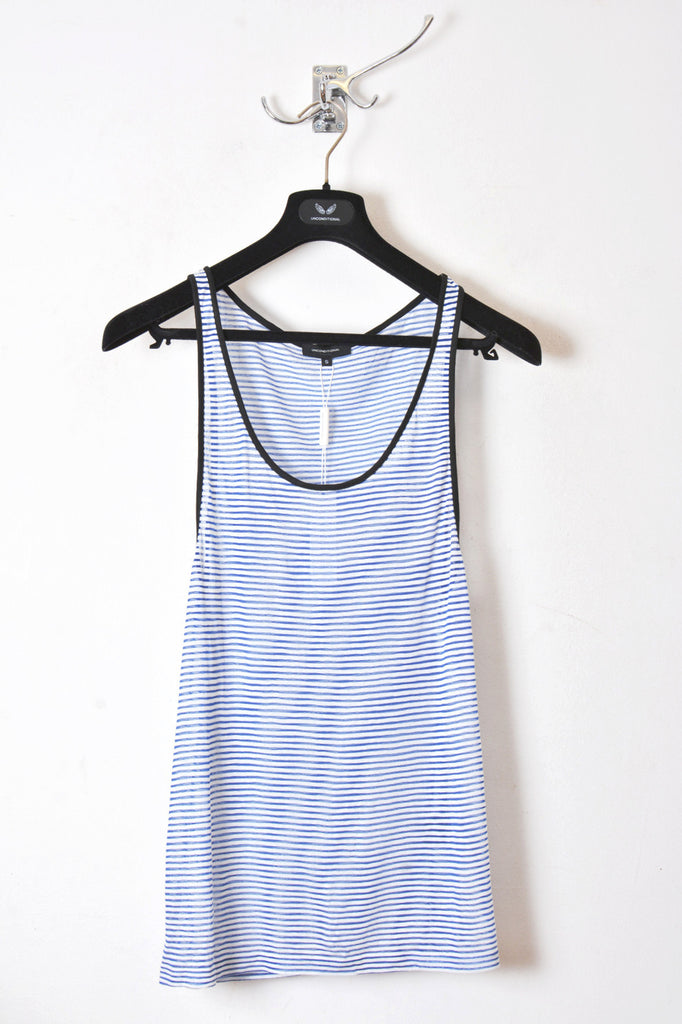 UNCONDITIONAL Blue | white fine stripe basic fine jersey vest FJV2C