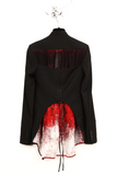 UNCONDITIONAL black open corset back jacket with red printed chiffon