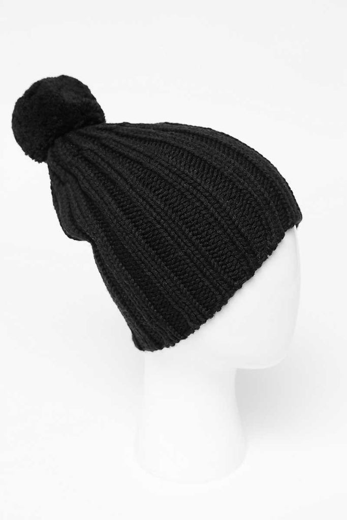 UNCONDITIONAL AW19 black knitted pompom bobble hat.