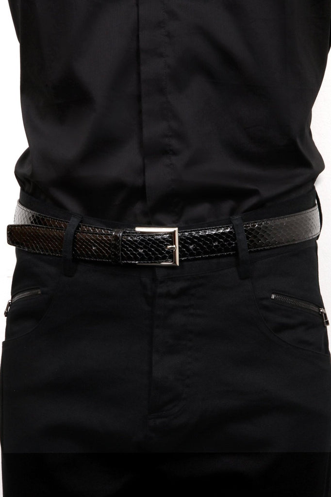 UNCONDITIONAL mens black real python belt.
