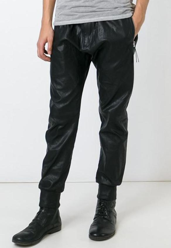 UNCONDITIONAL AW16 LEATHER LOOK black matt foiled trousers with rib cuff and waistband.