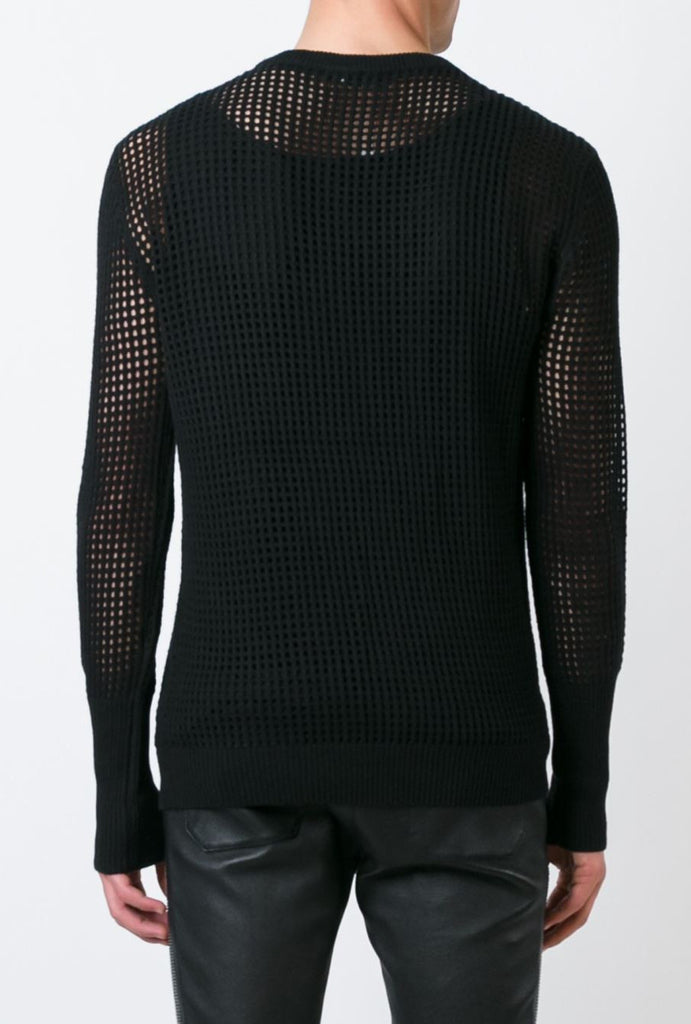 UNCONDITIONAL SS18 black cotton cashmere long sleeved mesh crew neck jumper.