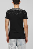 UNCONDITIONAL Black crew neck t-shirt with dark silver hand beading.